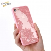 Луксозен Кейс за iPhone 7 KISSCASE Phone Cases Luxury Lace Flowers TPU Cover Case