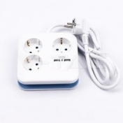 German Socket With 3 USB Charger 5V 1000mA Wall Power Charger Satin Metal Panel