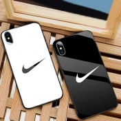 Твърд Кейс за iPhone X / XS  Luxury Tempered Glass Case Sports Brand, Черен