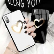 Твърд Кейс за iPhone X / XS  Luxury Tempered Glass Case Ultra Thin Heart Painted Back Cover, Черен