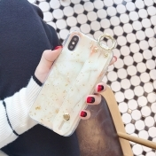 Луксозен Кейс за iPhone X / XS T Wrist Strap TPU Phone Case Marble Gold Foil Holder Case