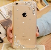 Силиконов Кейс за iPhone 11 Pro 3d Handmade Clear Bling Flower Crystal Rhinestone Diamond Pearl Case Cover