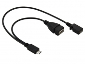 90 Degree Angled Micro USB Male To USB Female Host OTG Cable with USB Power Enhancer Hub Adapter Y Splitter