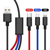 Кабел 3 in 1 USB Cable for Type C, Micro, iPhone, 1.2 м