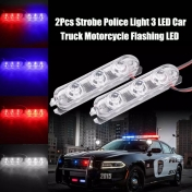 Сигнални светлини, 12V 24V, синьо-червен, 2бр., 2Pcs 3 LED Strobe Police Light 12V 8W Car Truck Motorcycle Flashing Emergency Warning Rear Tail Brake Stop Led Lights Lamp