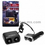 WF-0097 1-to-2 Car Cigarette Lighter Socket Splitter + USB Port - Black (DC12~24V)