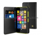 Black Wallet leather case MUVIT for Nokia Lumia 635 MUSNS0104