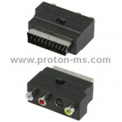 Audio / Video Connector, Scart 21 male pins + 3 RCA and 1 SVHS Female, Plastic, Black, Scart 56 HAMA