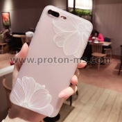 Луксозен Силиконов калъф / гръб / 3D Relief Peach Lace Roses Flowers Phone Case за iPhone 7 Plus