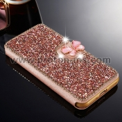 Луксозен Кейс за iPhone X Luxury Bling Diamond Rhinestone Flip PU Leather Wallet Case Cover