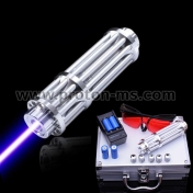 Powerful blue 50000 mW Cordless Laser with 5 plugs, two rechargeable batteries, safety glasses, 220V charger and metal case