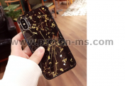 Силиконов Кейс за iPhone X Lovebay Luxury Gold Foil Glitter Marble Stone Phone Cases