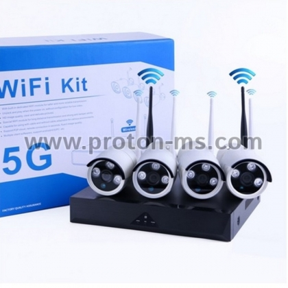 Video Surveillance Kit 4CH WiFi NVR + 4 IP Wireless Cameras