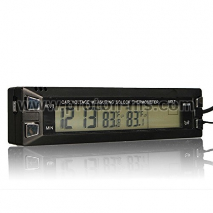 Digital LCD Display Car Clock with Thermometer (Car Thermometer)