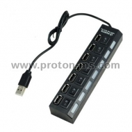 7 Port USB HUB Usb 2.0 Hub Multi Usb Splitter with on/off Switch or EU / US Power Adapter for MacBook PC Notebook Laptop