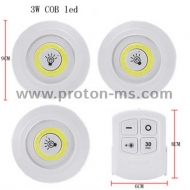 LED Battery Lights with Remote, 3 pcs. in a set