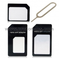 Nano SIM to Micro SIM and Standart SIM Card Adapter