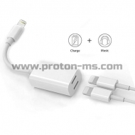 Кабел 2 in 1 Double Lightning Jack Y Cable for iPhone