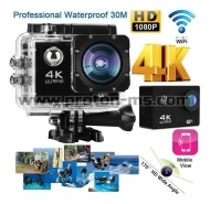 Спортна видеокамера, 4K - Ultra HD DV Sports, Wifi, Waterproof 30 M, 16 Mpx, Action Cam, H.264, Черна