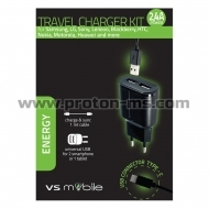 VS Mobile Charger 100-240V 2xUSB 2.4A with split USB-A to USB C 30110