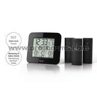 "Electronic Weather Station HAMA ""EWS-Trio"" 136293, BlackDCF radio clock which automatically adjusts to the world's most accurate clock  Four-part set, comprising a base station and three radio outdoor sensors for displaying the time, weekday, date, temper"