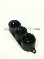3-socket splitter with no cable, black