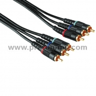Connecting Cable, 3 RCA plugs - 3 RCA plugs, 5 m Hama