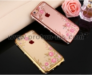 Силиконов Калъф за iPhone 7 Rose Gold Crystal Diamond Clear Flower