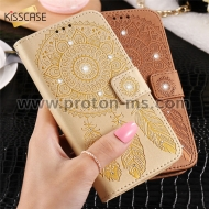 iPhone 6 / 6S Plus KISSCASE Case Luxury Glitter Leather Case Cases Leather Flip Wallet Holder, Dark