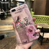 iPhone 7 Plus 3D Relief Peach Lace Roses Flowers Phone Case