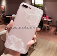iPhone 7 3D Relief Peach Lace Roses Flowers Phone Case