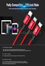 Cabel NOHON 3 in 1 iPhone - iPhone -Micro 120 cm Silver