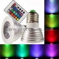 LED Bulb with Remote RGB 3W E27