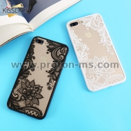 Луксозен Кейс за iPhone 7 KISSCASE Phone Cases Luxury Lace Flowers TPU Cover Case, Бял