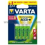 Varta Longlife Accu Battery 1000mah AAA 1.5V, 1pc.