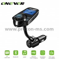 Onever Car MP3 Audio Player Bluetooth FM Transmitter Wireless FM Modulator Car Kit HandsFree LCD Display USB Charger