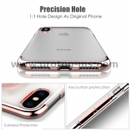 Прозрачен  Кейс за iPhone X Ultra Thin Soft Silicon, Rose gold