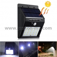 Solar Powered LED Wall Light, PIR Sensor + CDS Night Sensor