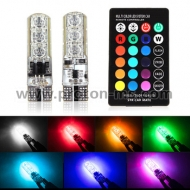 LED bulbs - 2 pcs. in T10 RGB kit with remote control