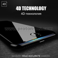 iPhone X, XS 4D Round Curved Edge Tempered Glass, Black