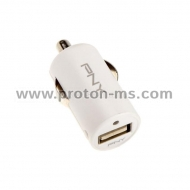 Vehicle Charging PNY, 12V/USB, 5V/2400mA, White